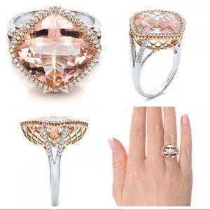 Stunning! Morganite Rose Gold Statement Ring